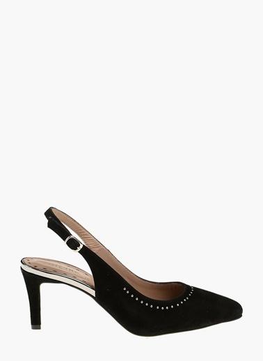 Divarese İnce Topuklu %100 Deri Ayakkabı Siyah